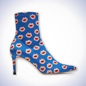 NWT ZARA Printed Lips Stretch Heel Sock Booties
